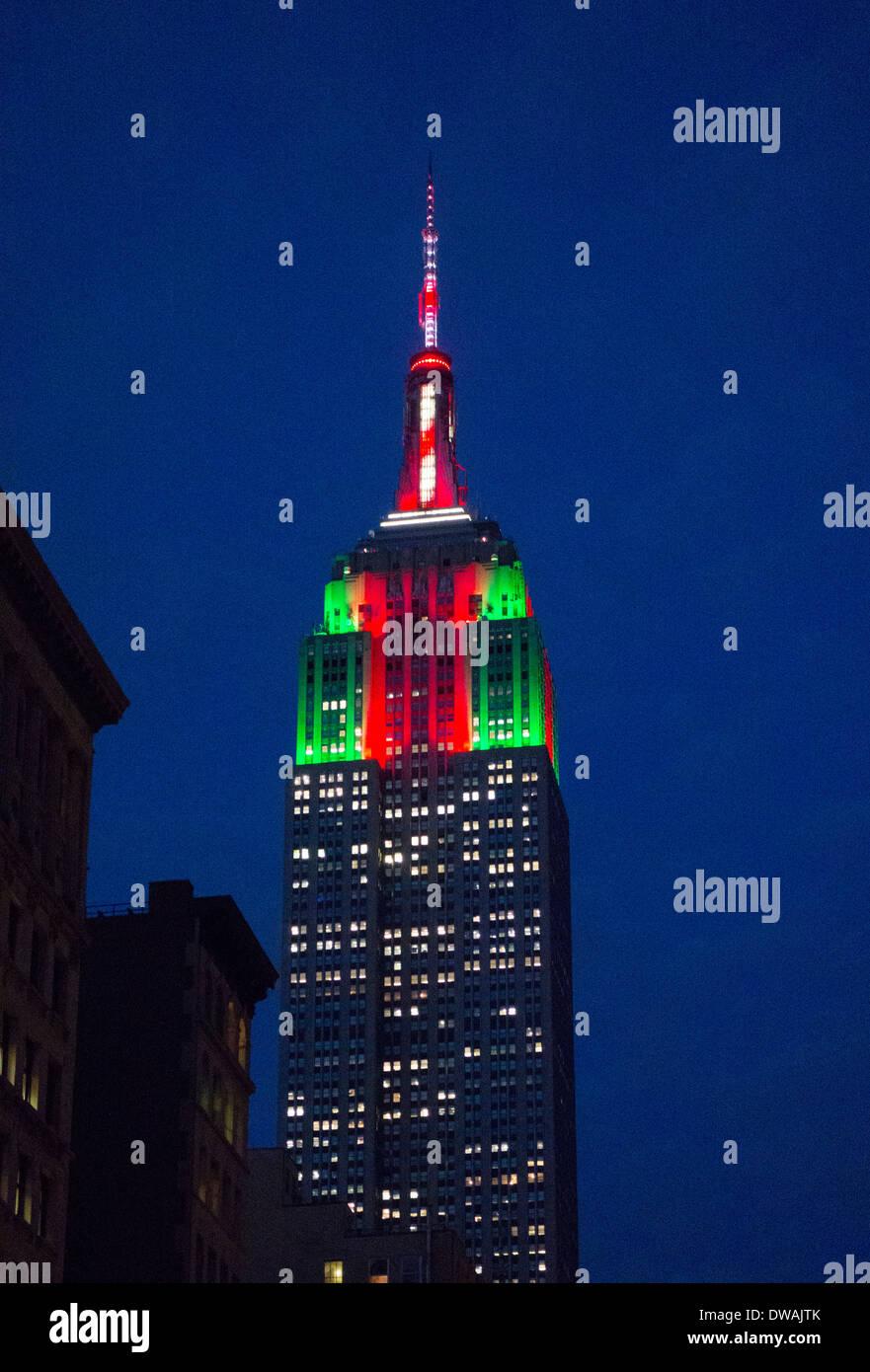 Empire State Building New York City Weihnachten Stockfoto, Bild ...