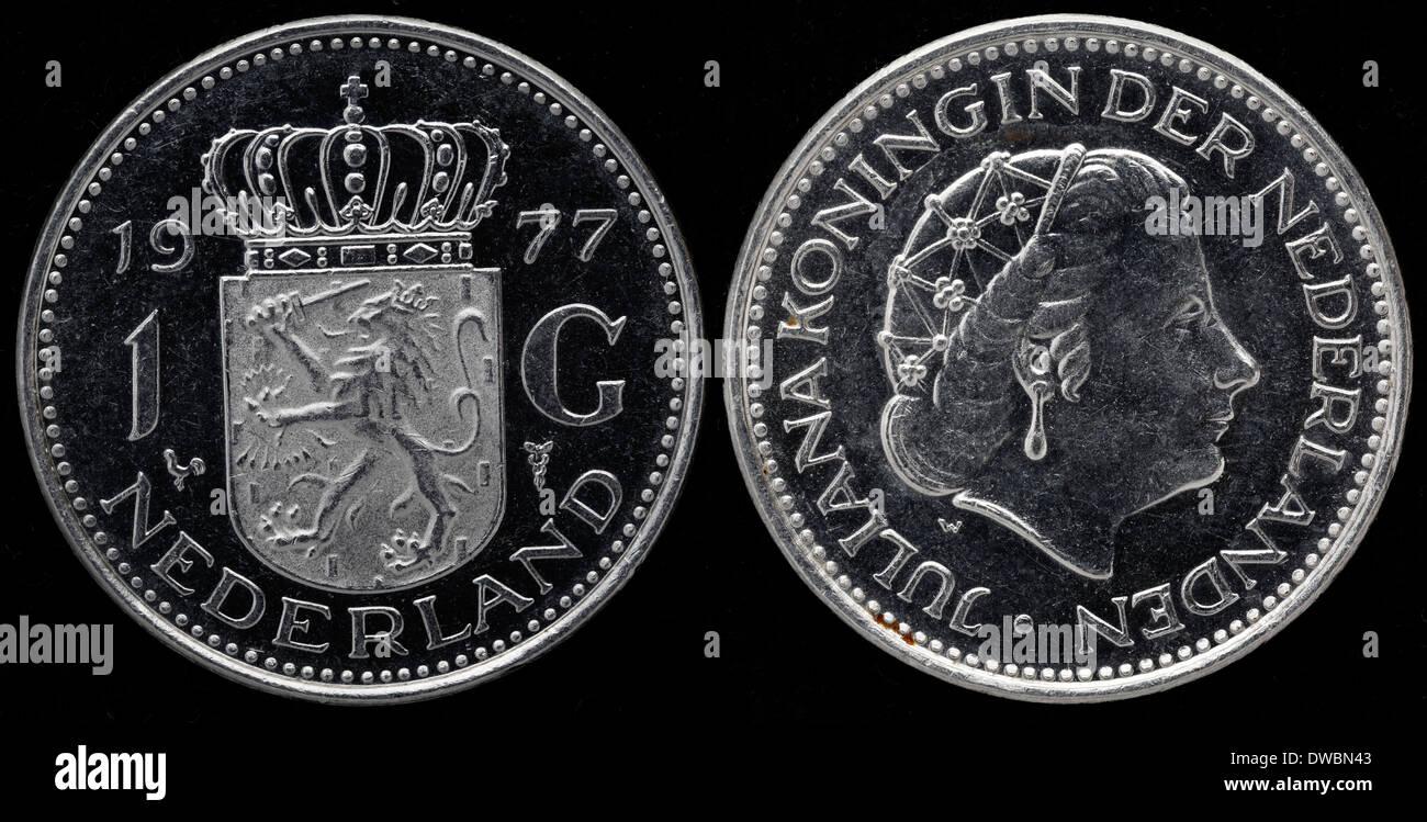 1 Gulden Münze Königin Juliana Niederlande 1977 Stockfoto Bild