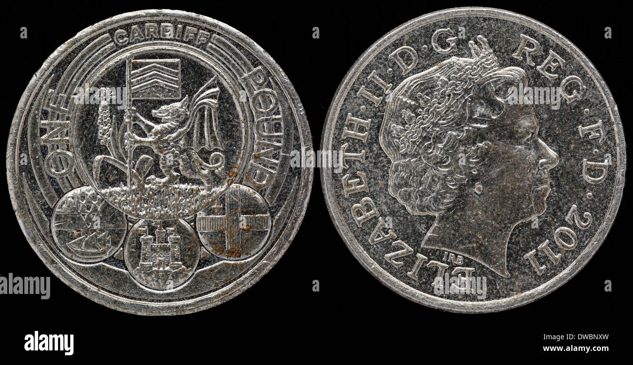 1 Pfund Münze Cardiff Königin Elizabeth Ii Uk 2011 Stockfoto