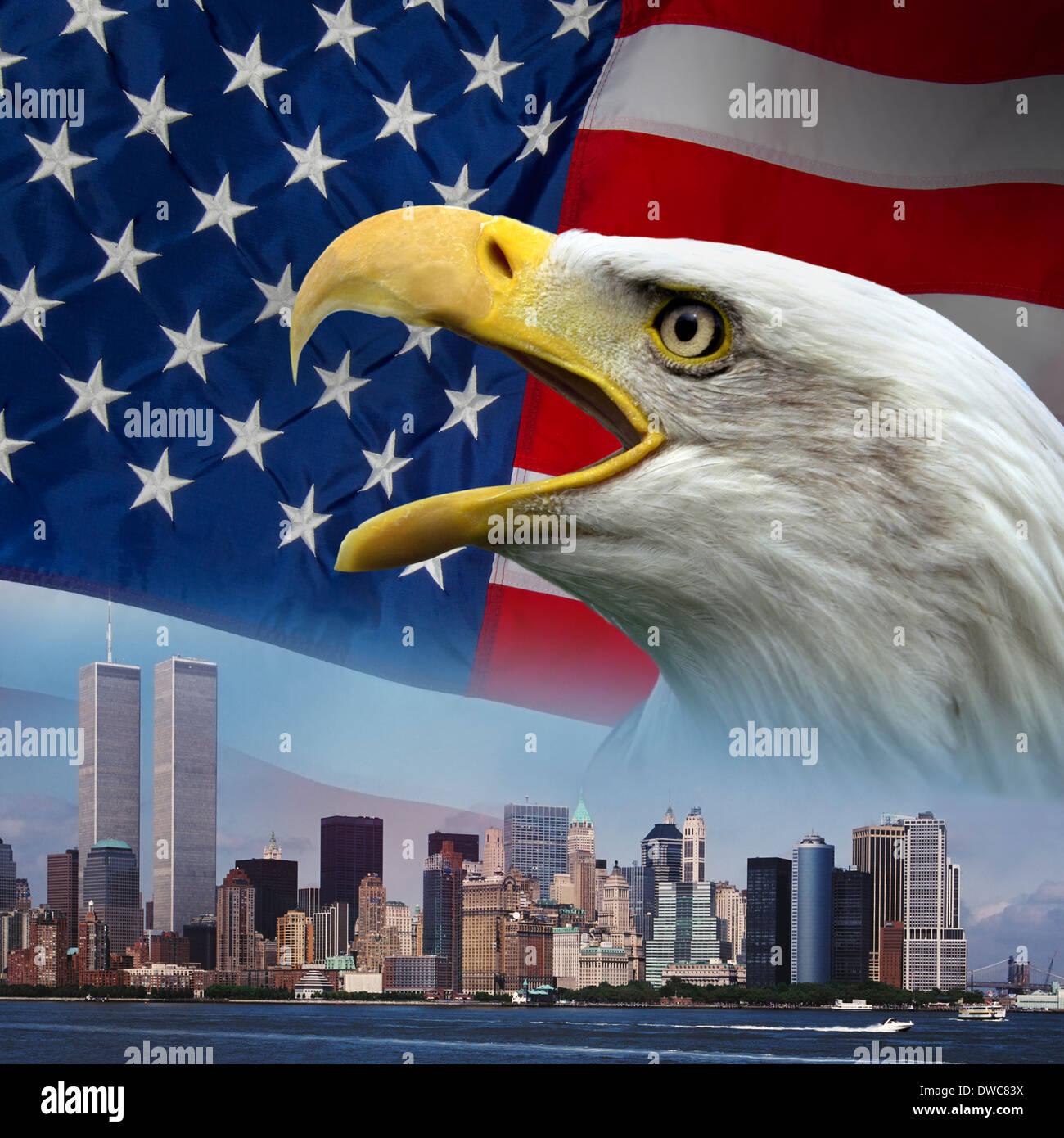 Patriotischen Symbolen zu 9 / 11 erinnern Stockbild