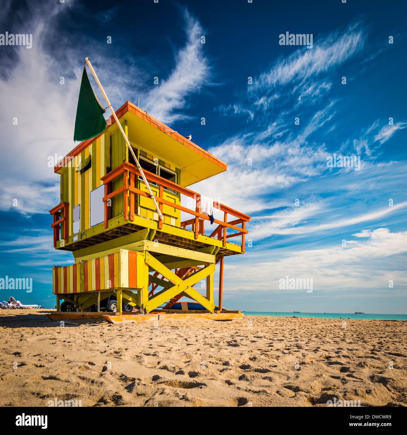 Miami, Florida in Miami Beach in einem Rettungsschwimmer-Turm. Stockbild