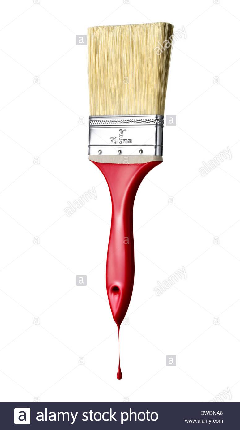 Konzeptbild von einem nassen Pinsel mit dem Griff tropft in roter Farbe getaucht Stockbild