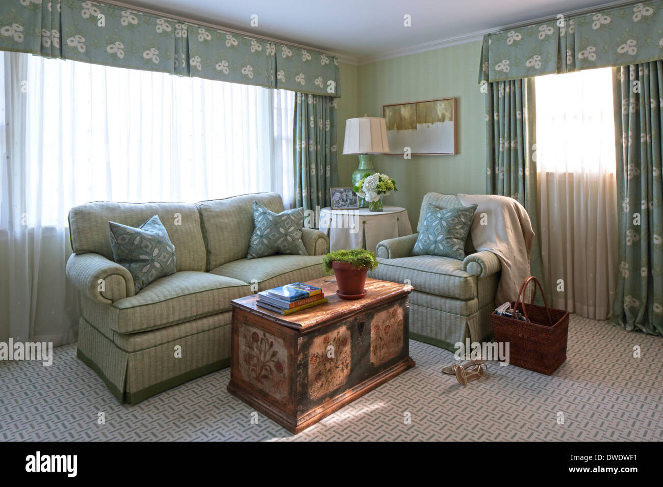 Englisch American Country Home Interiors, Larchmont, Vereinigte ...