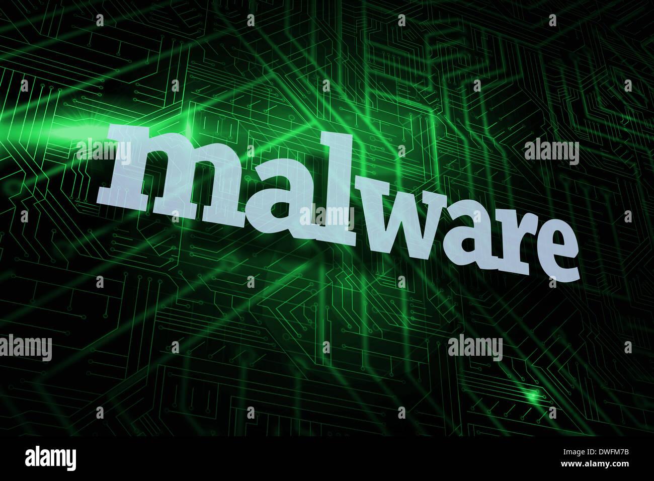 Malware gegen grüne und schwarze Platine Stockbild
