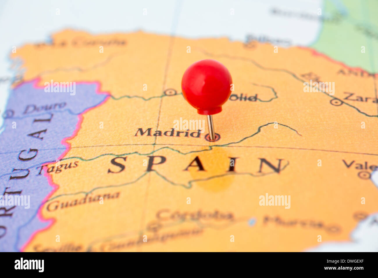 Close Up Madrid Spain Map Stockfotos & Close Up Madrid Spain ...