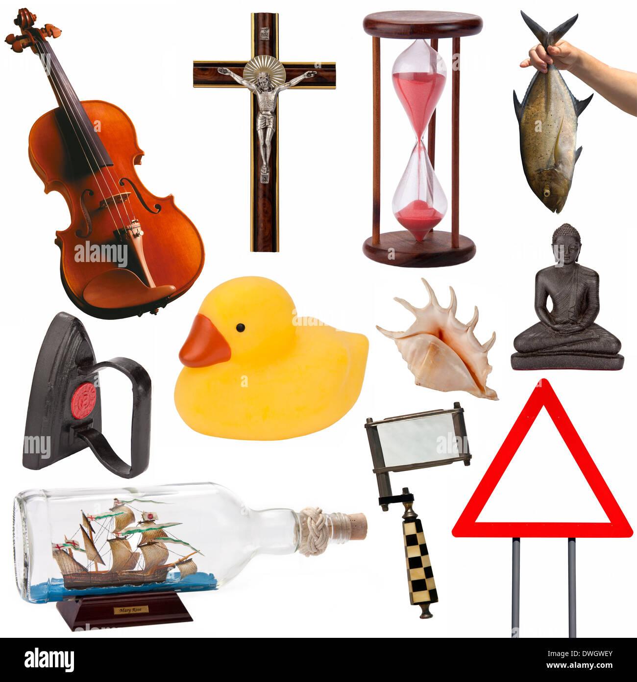 Eine Auswahl von Objekten, Elemente, Ideen und Konzepte für Ausschnitt (isoliert auf weißem Hintergrund). Stockbild