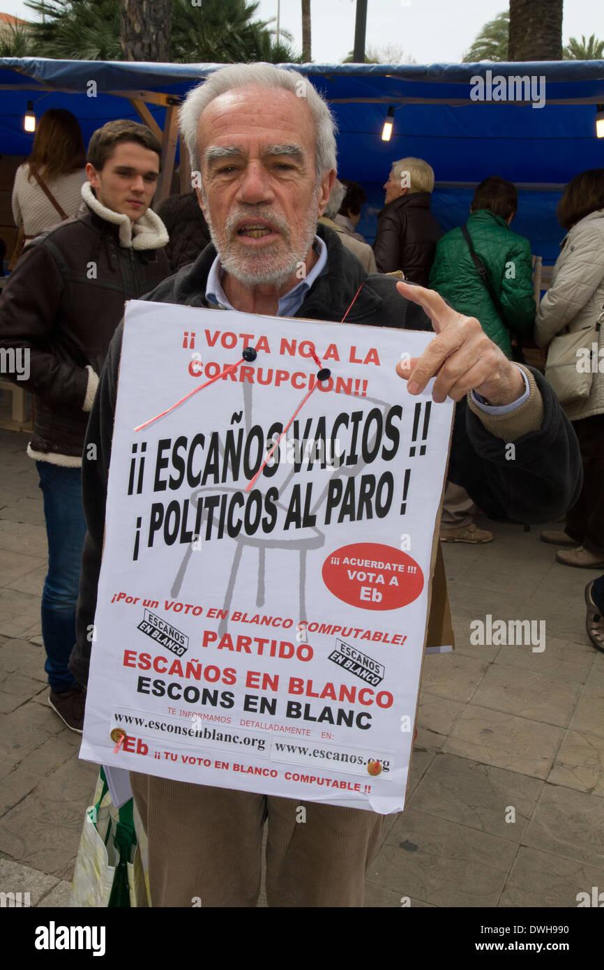 Mann Demonstrant Regierungskorruption Palma De Mallorca Spanien Stockbild