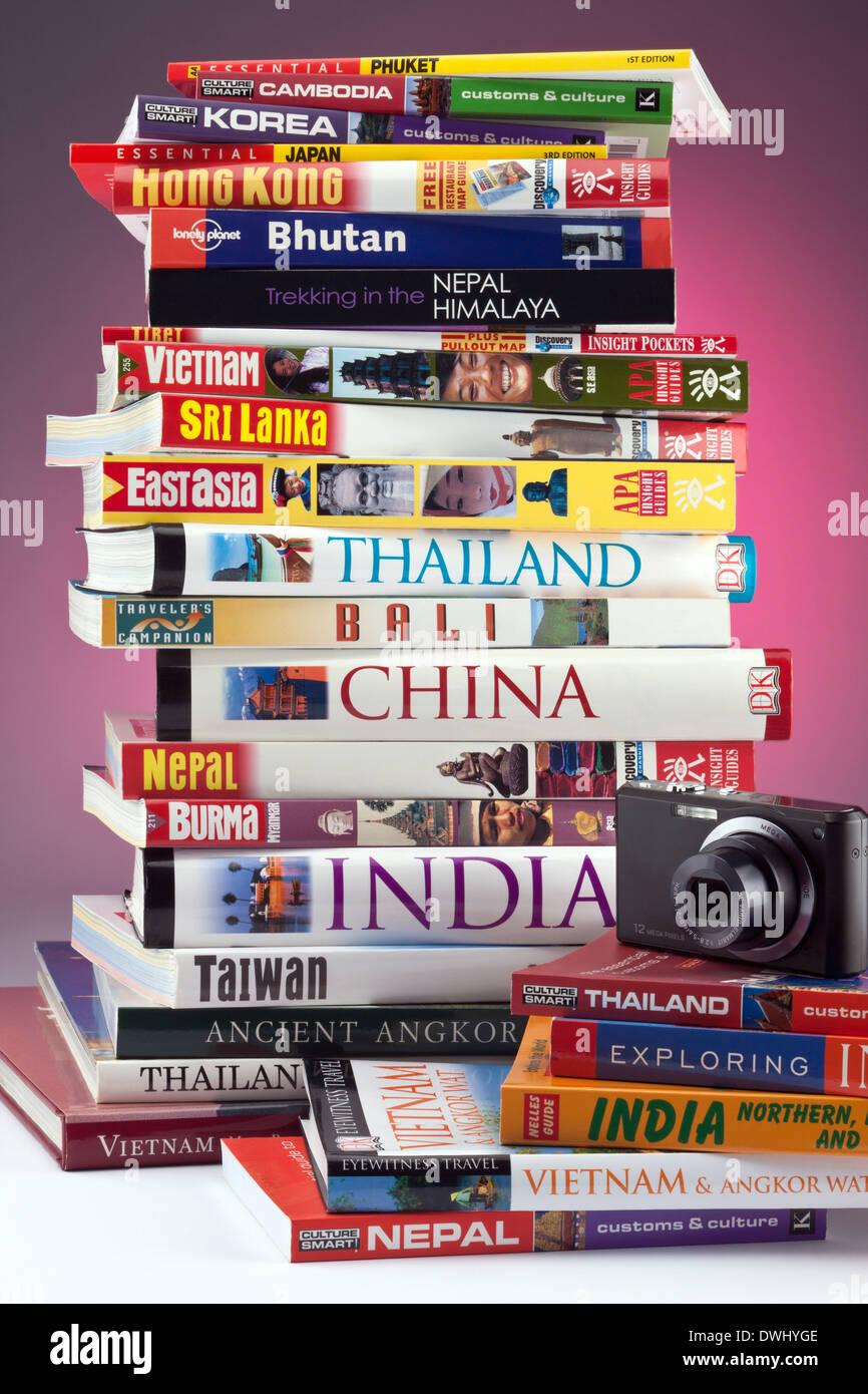 Reiseführer zu Reisezielen in Ostasien. Stockbild