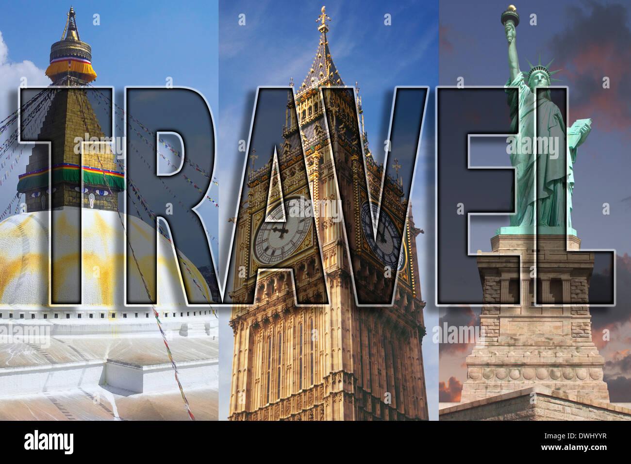 Weltweite Reisen - Asien, Europa und Nordamerika. Stockbild