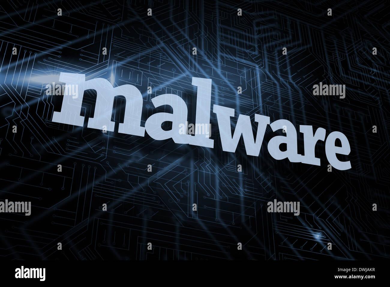 Malware futuristische schwarz und blau Hintergrund Stockbild