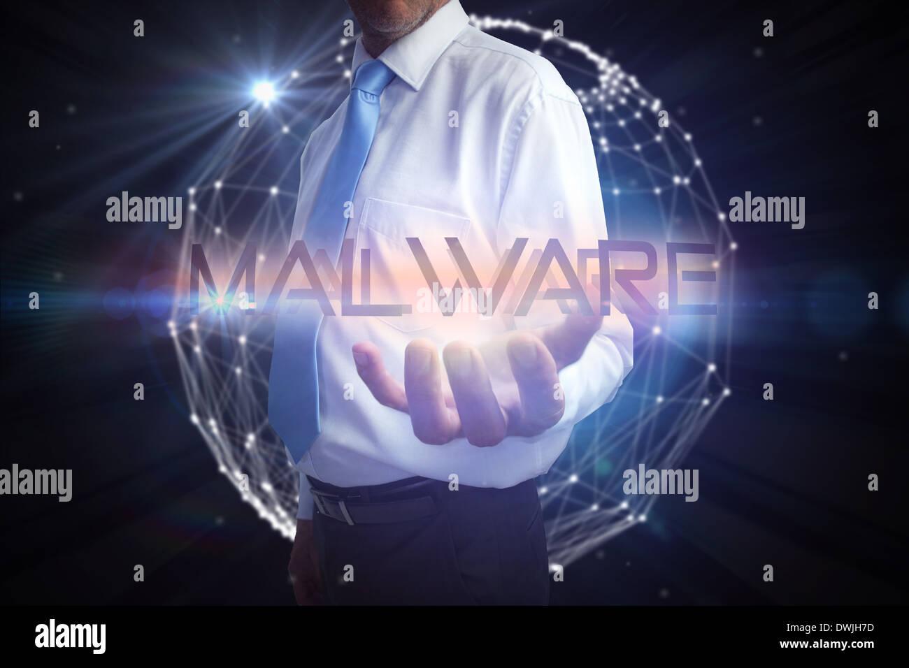 Unternehmer präsentieren die Wort-malware Stockbild