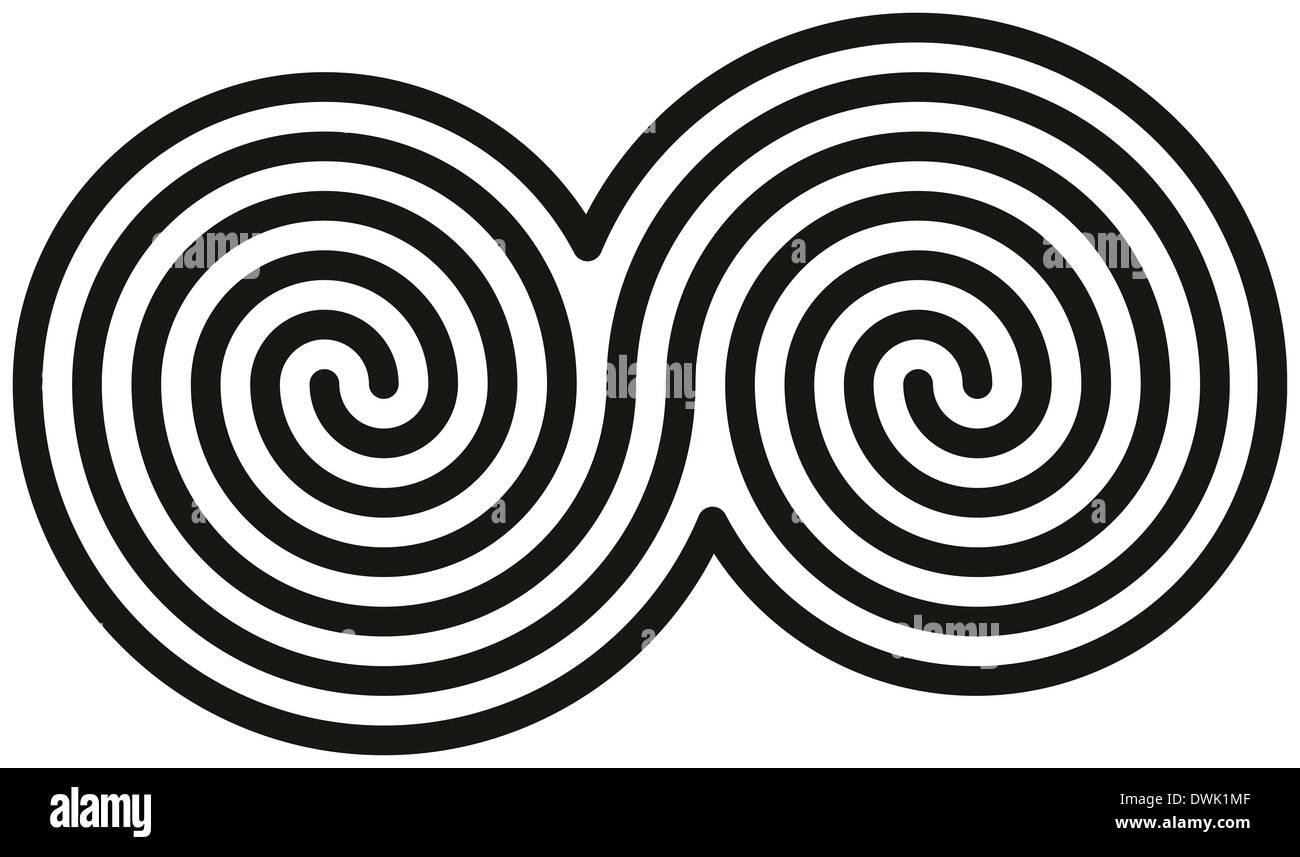 Keltische Doppelspiralen Weiß Und Schwarz Doppelspiralen Bilden