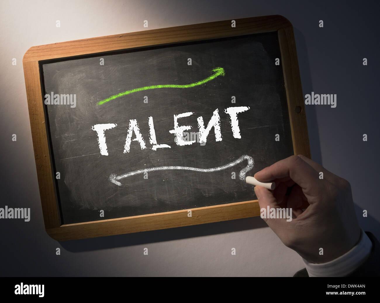 Handschrift Talent an Tafel Stockbild