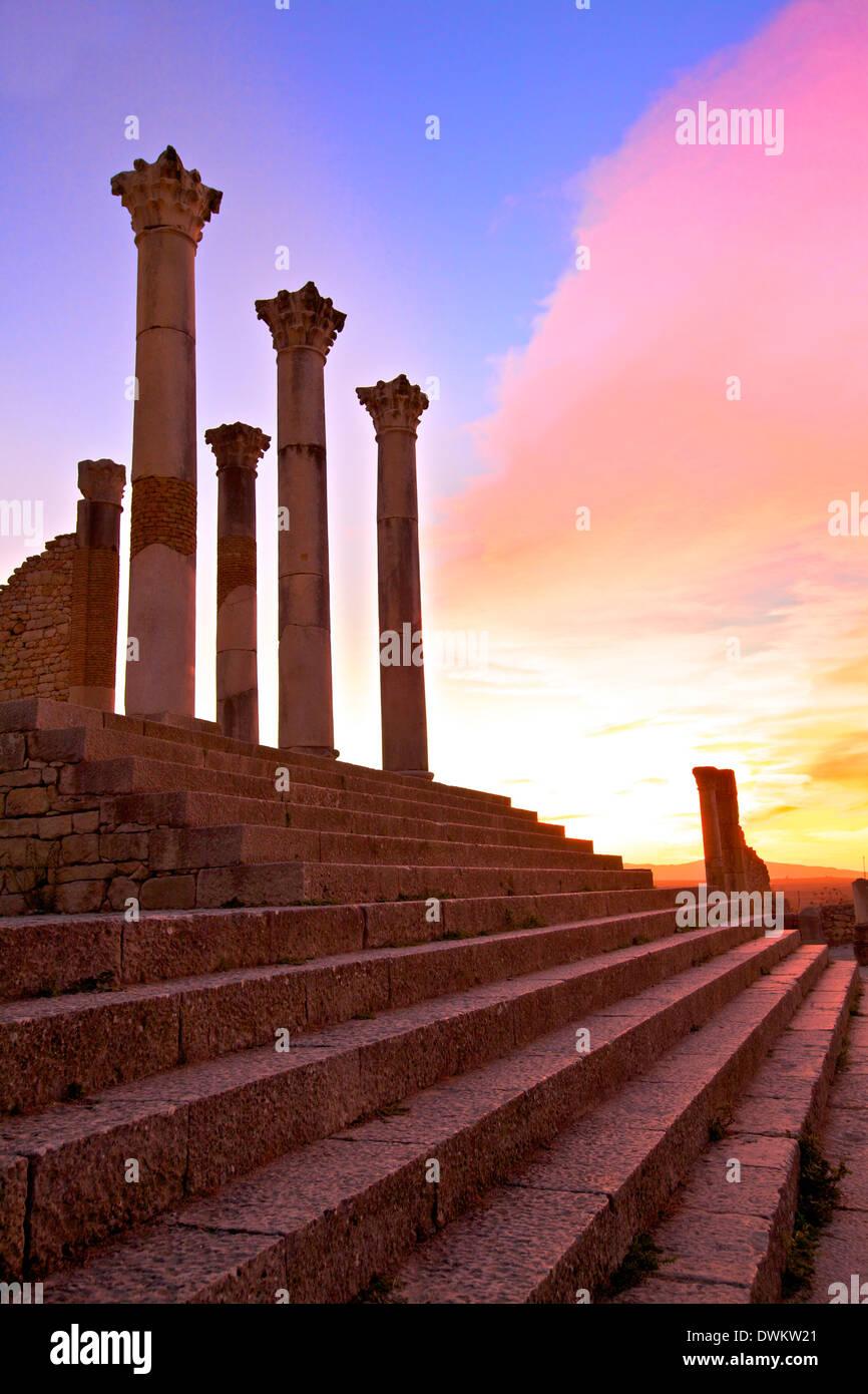 Ausgegrabenen römischen Stadt Volubilis, UNESCO World Heritage Site, Marokko, Nordafrika, Südafrika Stockbild
