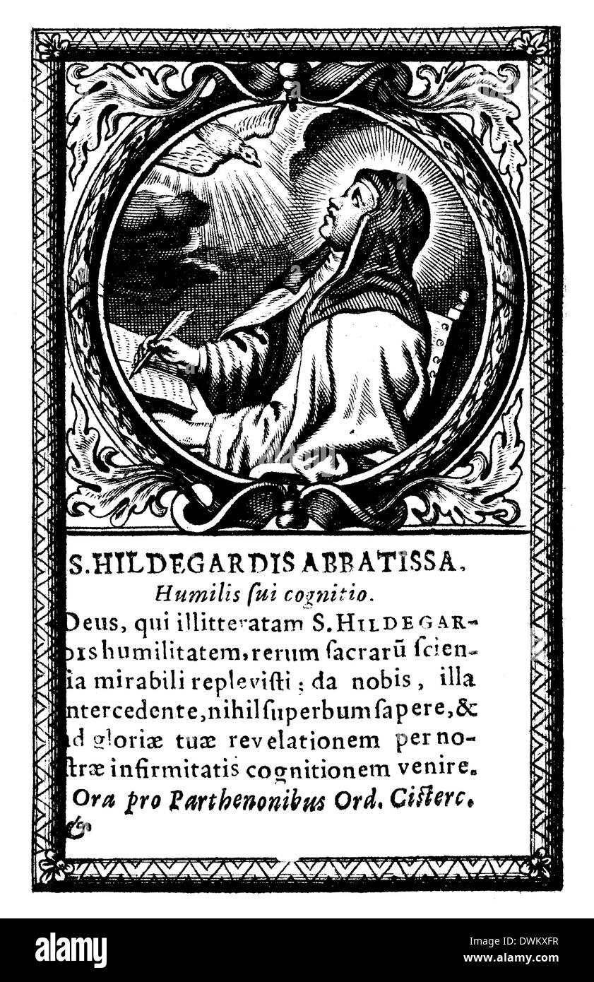 Heilige Hildegard von Bingen (1098 – 1179), christlicher Mystiker, deutscher Benediktiner Äbtissin, Visionär und Stockfoto