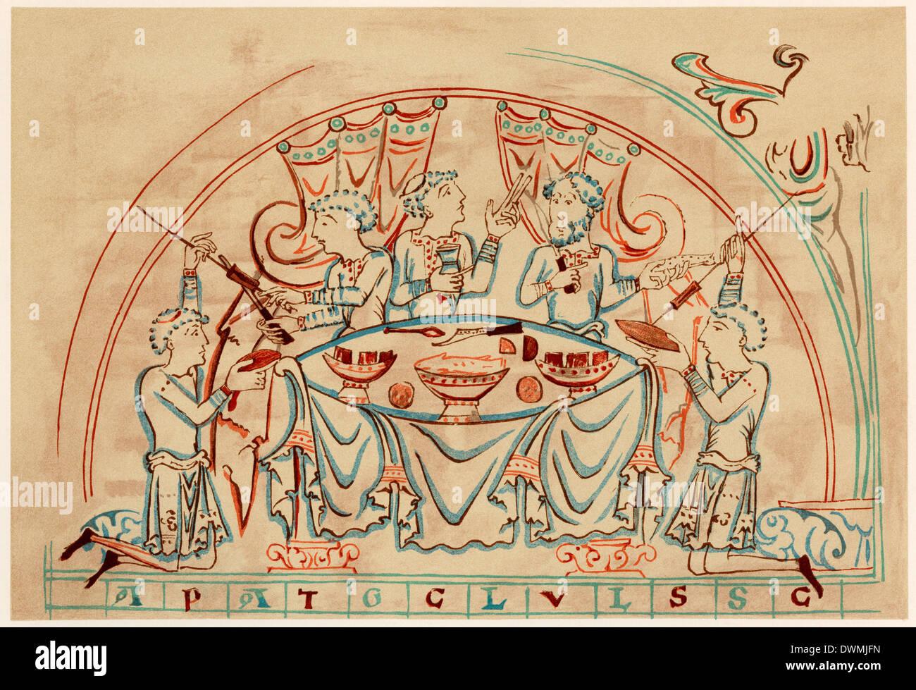 Rittermahl, aus dem 11. Jahrhundert. Gedruckte farbige Lithographie Stockbild