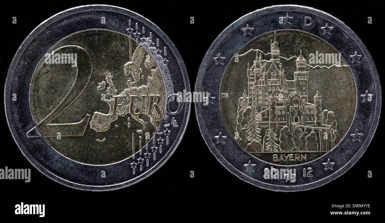 2 Euro Münze Bayern Schloss Neuschwanstein Deutschland 2012