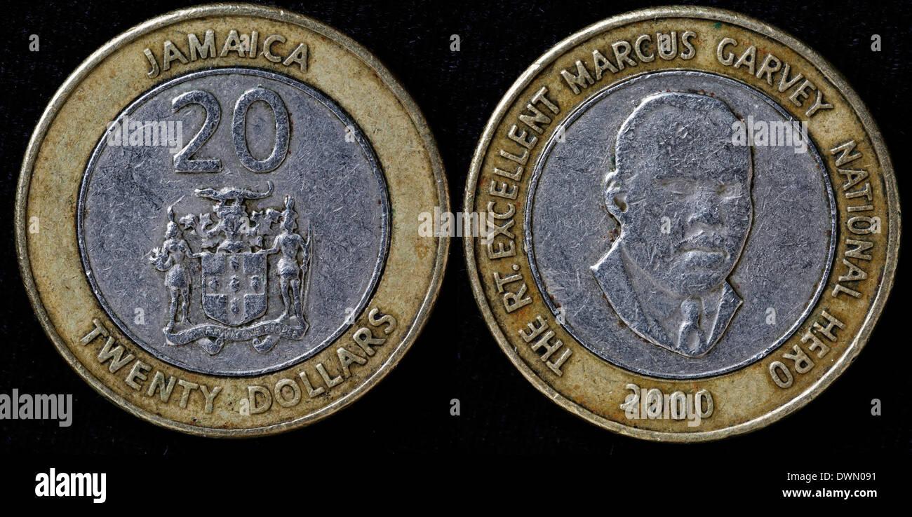 20 Dollar Münze Marcus Garvey Jamaika 2000 Stockfoto Bild