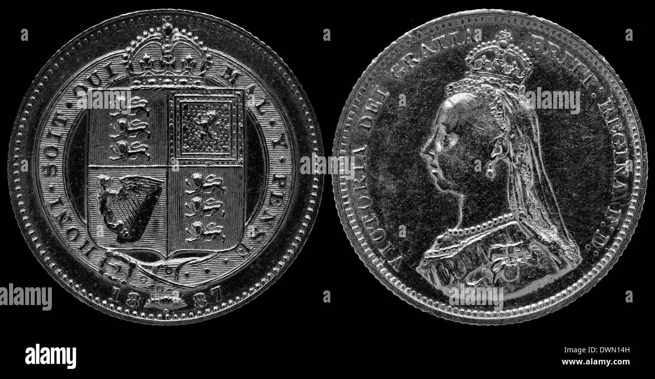 1 Schilling Silber Münze Königin Victoria Uk 1887 Stockfoto Bild