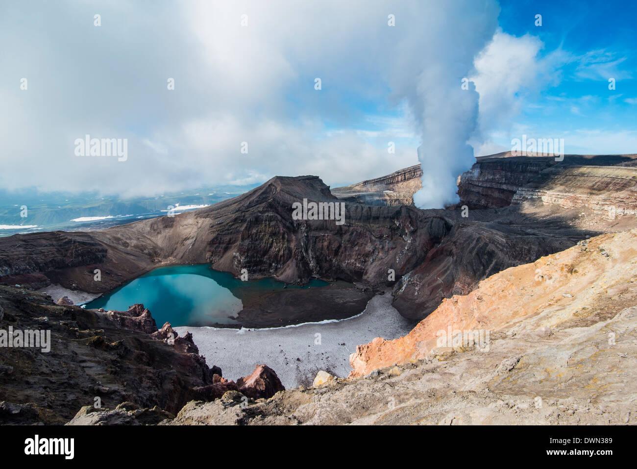 Dampfenden Fumarole auf der Gorely Vulkan, Kamtschatka, Russland, Eurasien Stockbild