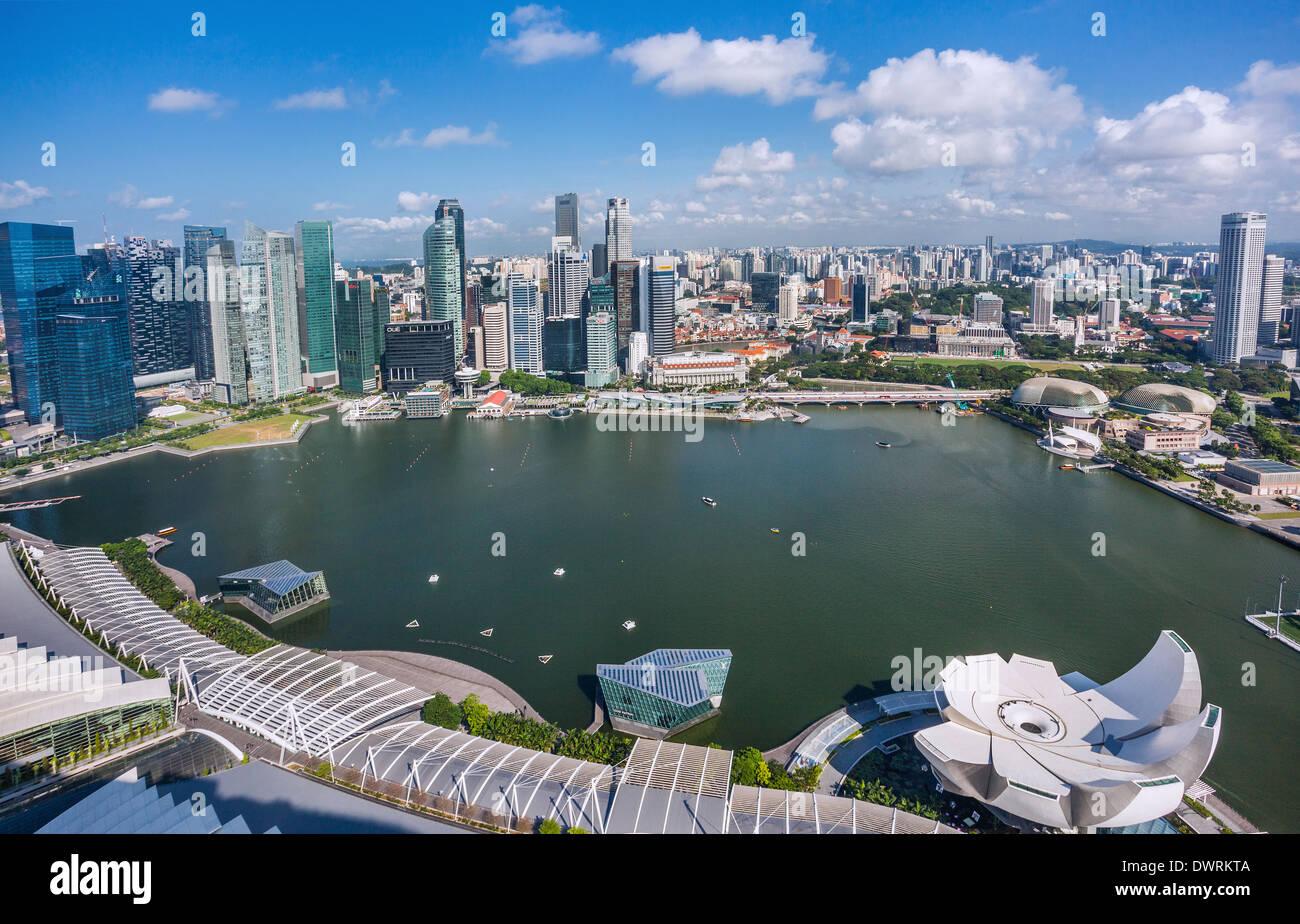 Singapur, Panoramablick auf die Marina Bay und dem Singapore CBD Stockbild