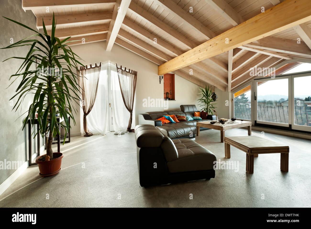 Innen Neue Loft Ethnische Mobel Wohnzimmer Stockfoto Bild