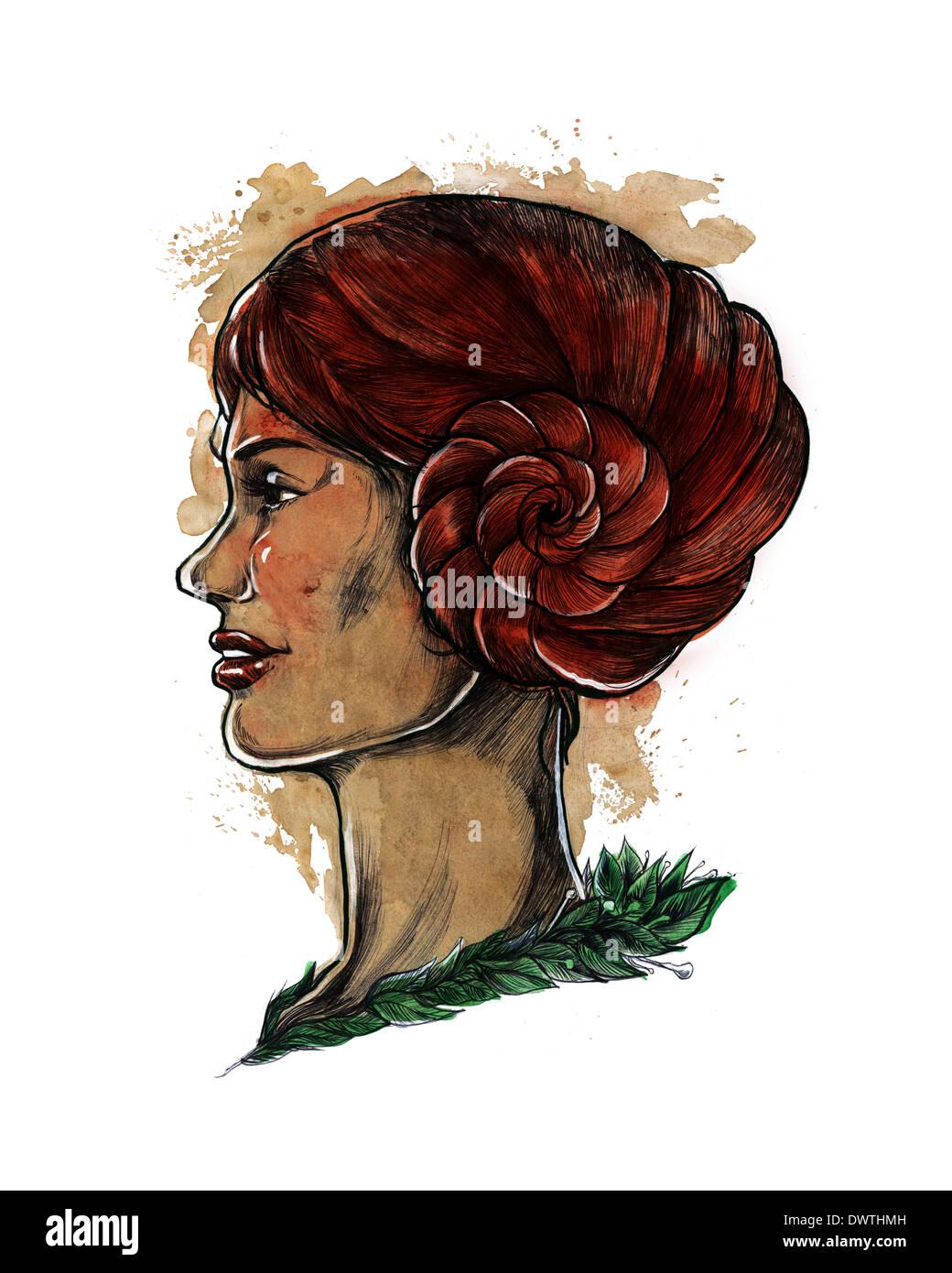 Darstellung der Frau mit Haaren in Spirale gehörnten Symbol für Sternzeichen Widder Stockfoto