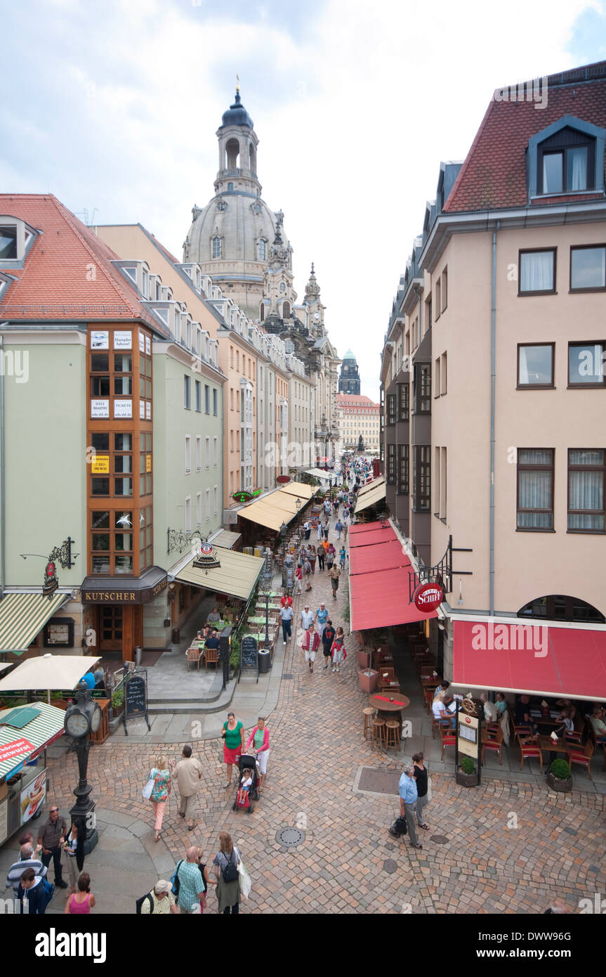 Germany Dresden Muenzgasse Street Restaurants Stockfotos Germany