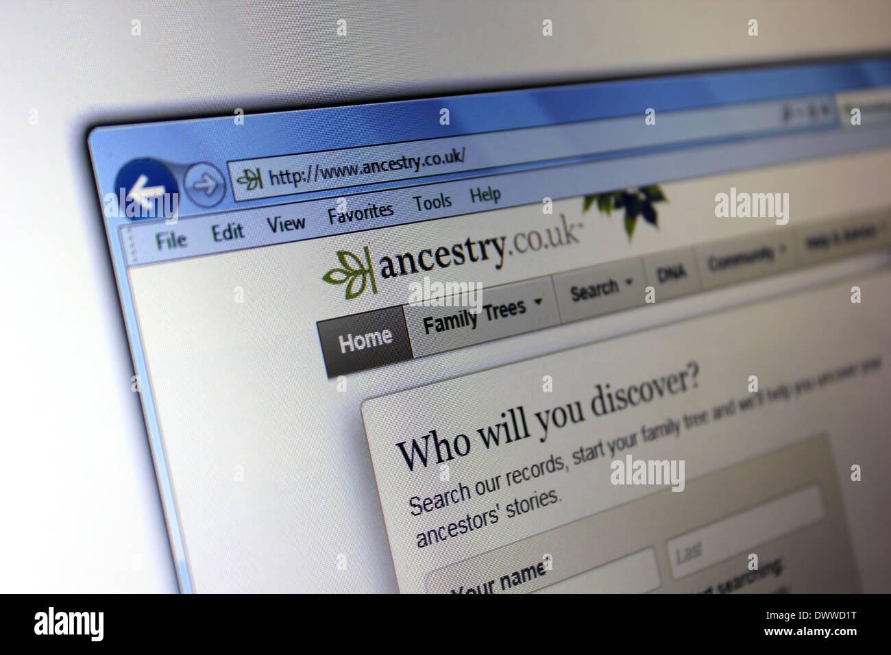 Ancestry.Co.uk Webseite Stockbild
