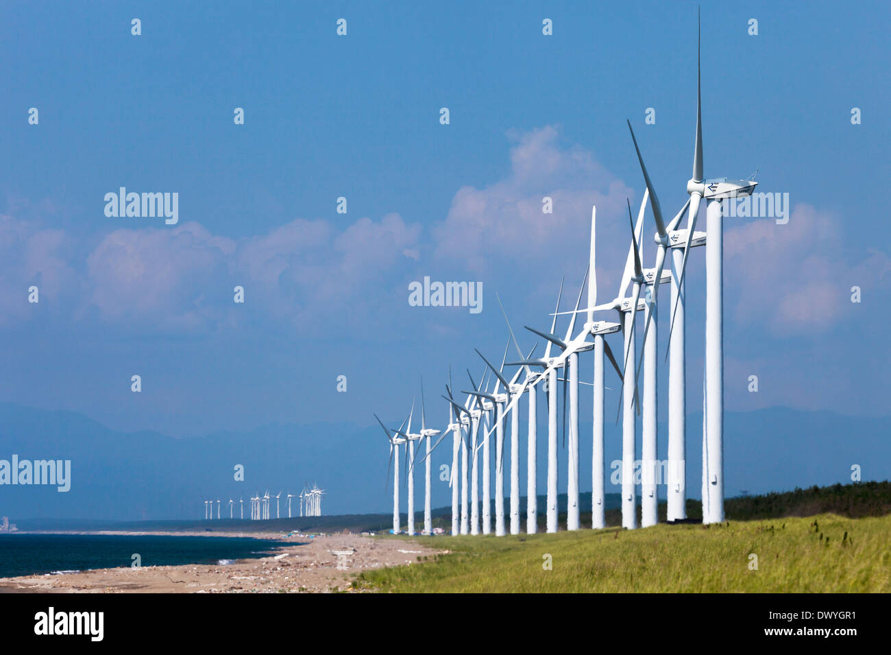 Noshiro Wind Power Station, Noshiro, Akita Präfektur, Japan Stockbild