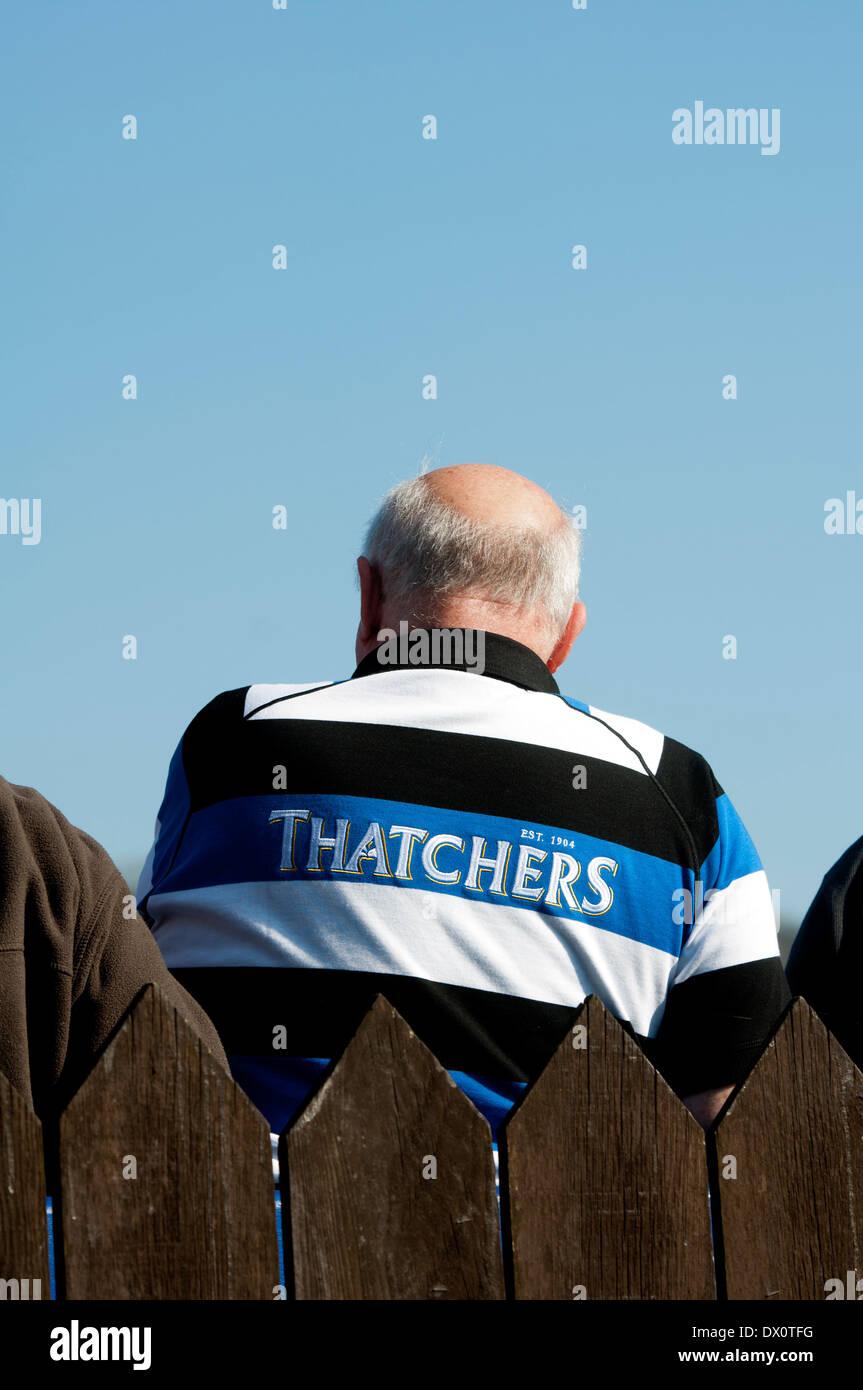 Zuschauer bei Bath Rugby-Boden, Somerset, England, Großbritannien Stockbild