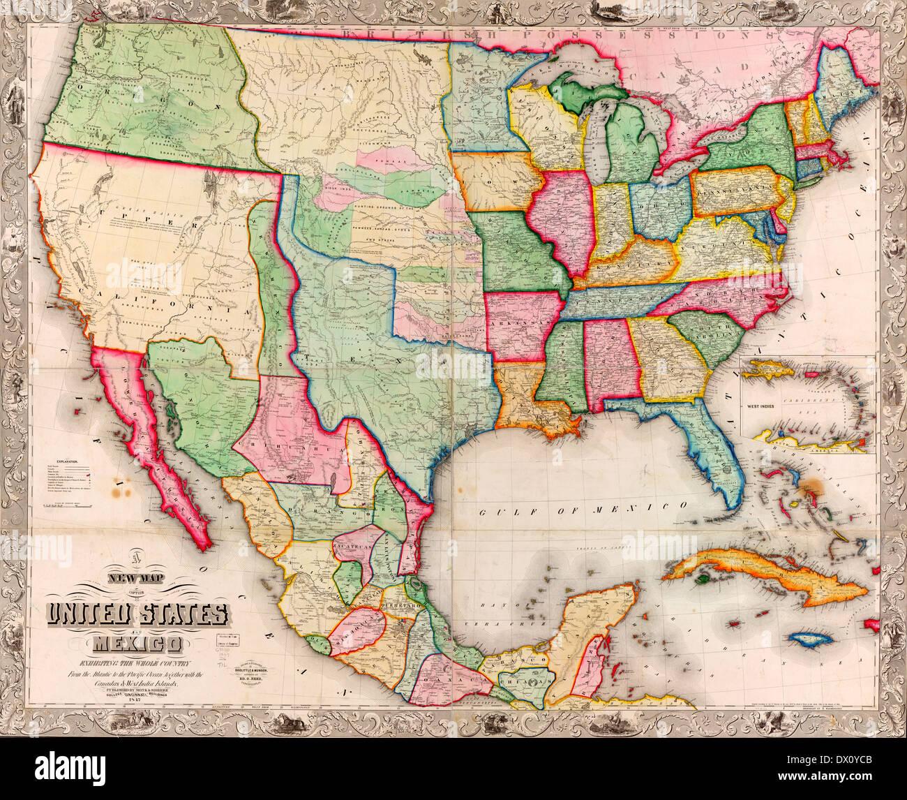 Mexiko Staaten Karte.Neue Karte Von Den Vereinigten Staaten Und Mexiko 1847 Pre