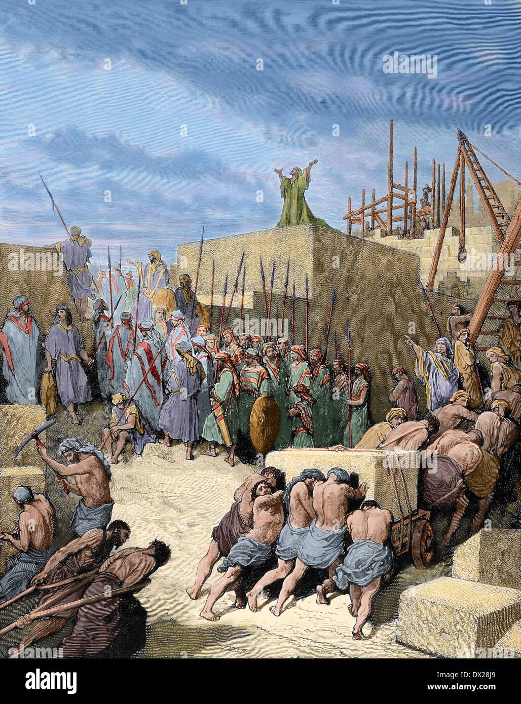 Alten Testament. Rückkehr aus dem babylonischen Exil. Wiederaufbau des Tempels. Buch Esra. Gravur. Farbige. Stockbild