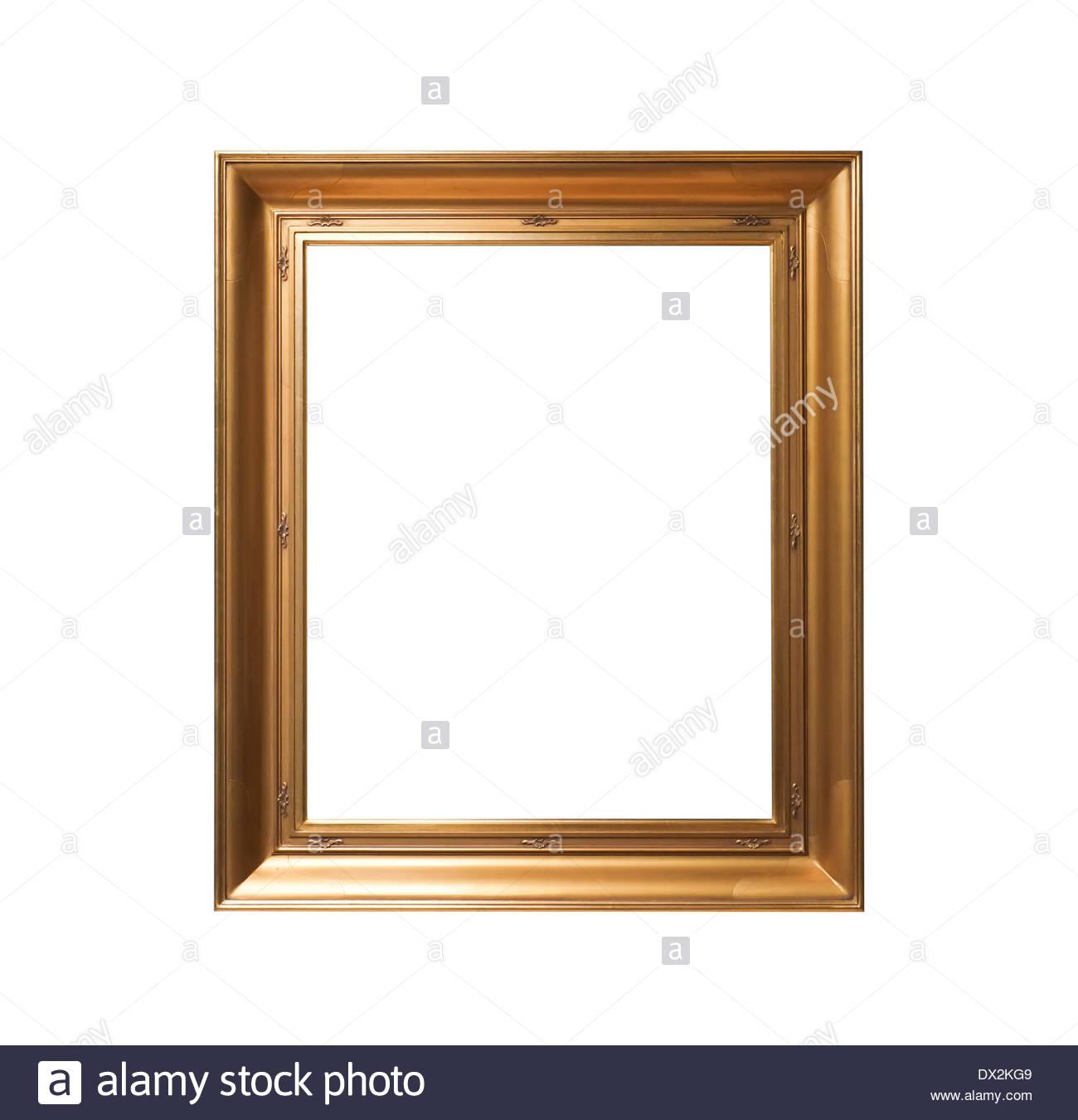 Vintage Goldrahmen isoliert auf weißem Hintergrund Stockbild