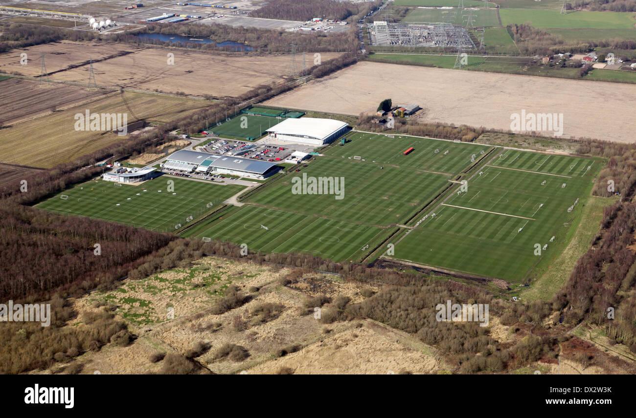 Luftaufnahme von Manchester United Fußball Trainingsplatz in Carrington, Manchester Stockbild