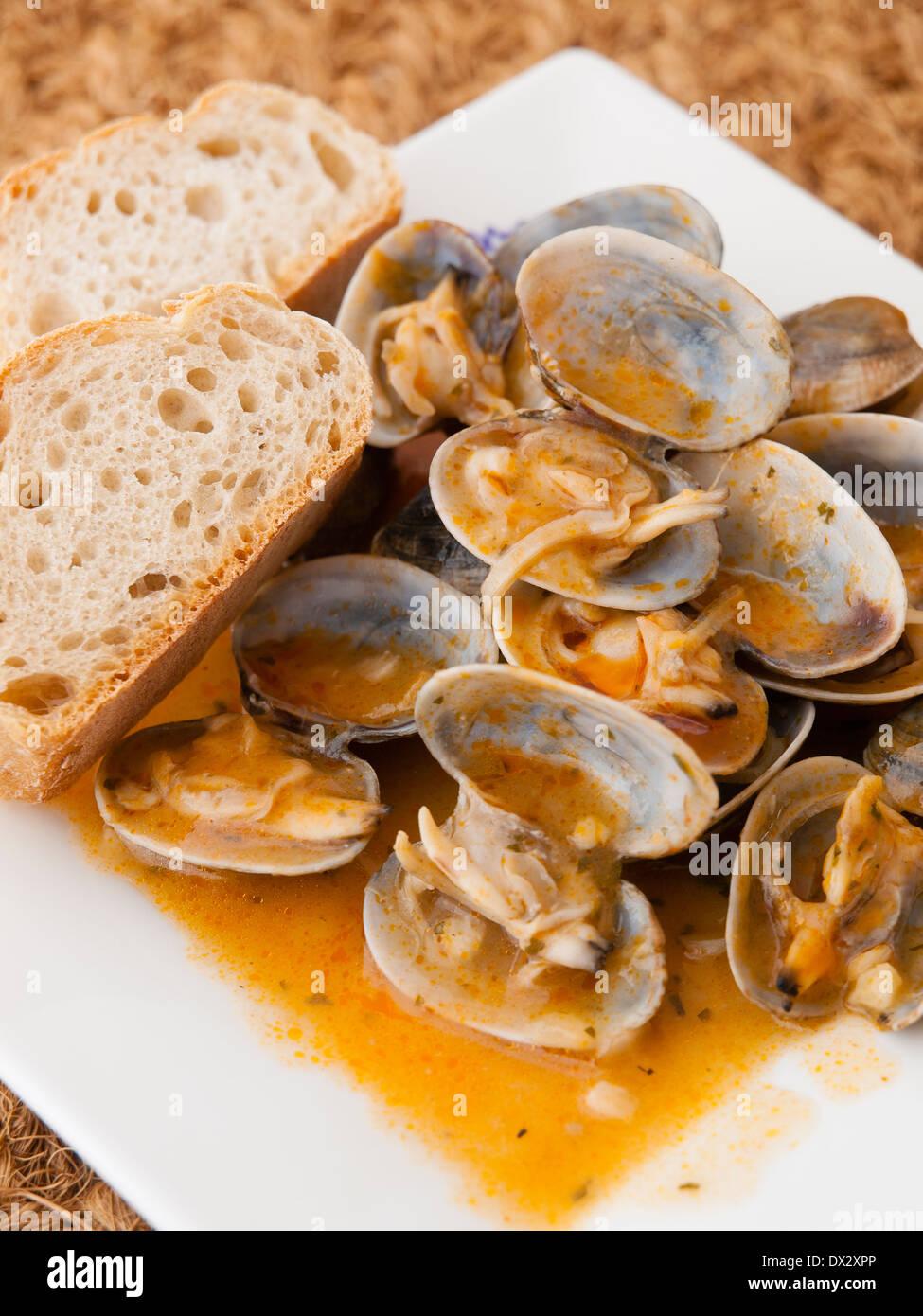 """Muscheln gekocht im Rezept """"Almejas a la Marinera"""" Hintergrund in einem Studio gedreht Stockbild"""