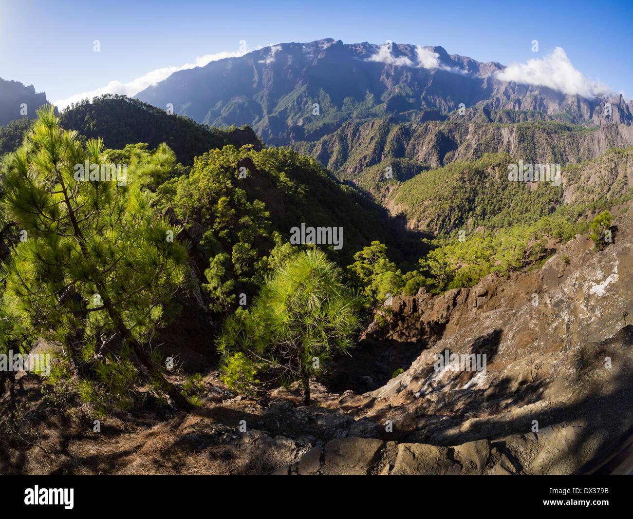 Die Caldera de Taburiente Landschaft, gesehen aus der Sicht der Mirador de Los Roques. Stockbild