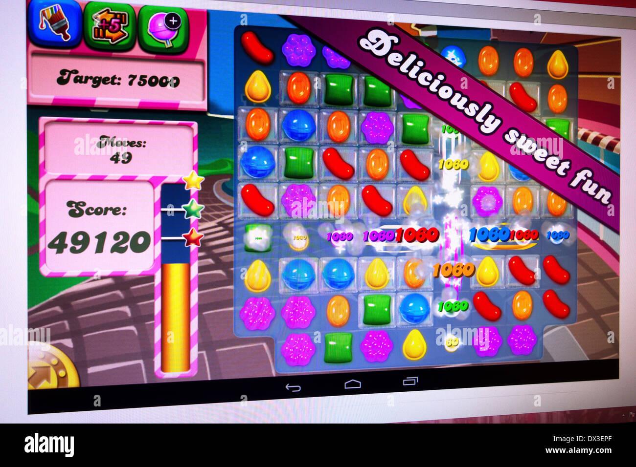 Candy Crush Online-Unterhaltung Stockbild