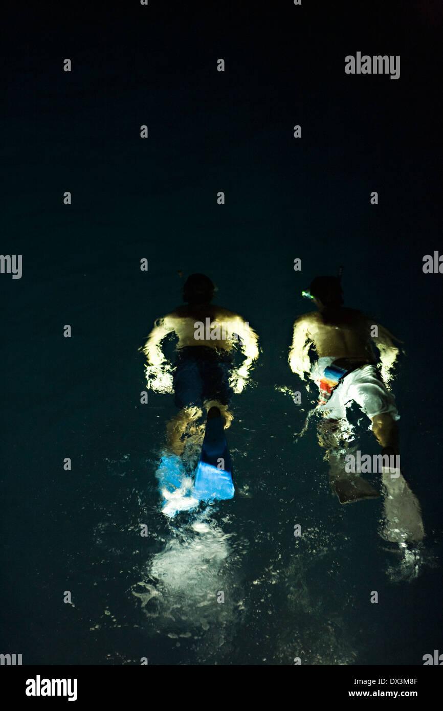 Jungen mit Flossen Schnorcheln in beleuchtete Wasser bei Nacht, hohe Winkel Ansicht Stockbild