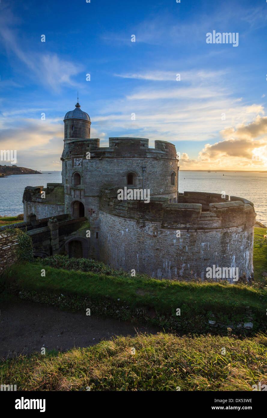 St. Mawes Castle gefangen bei Sonnenuntergang Stockbild