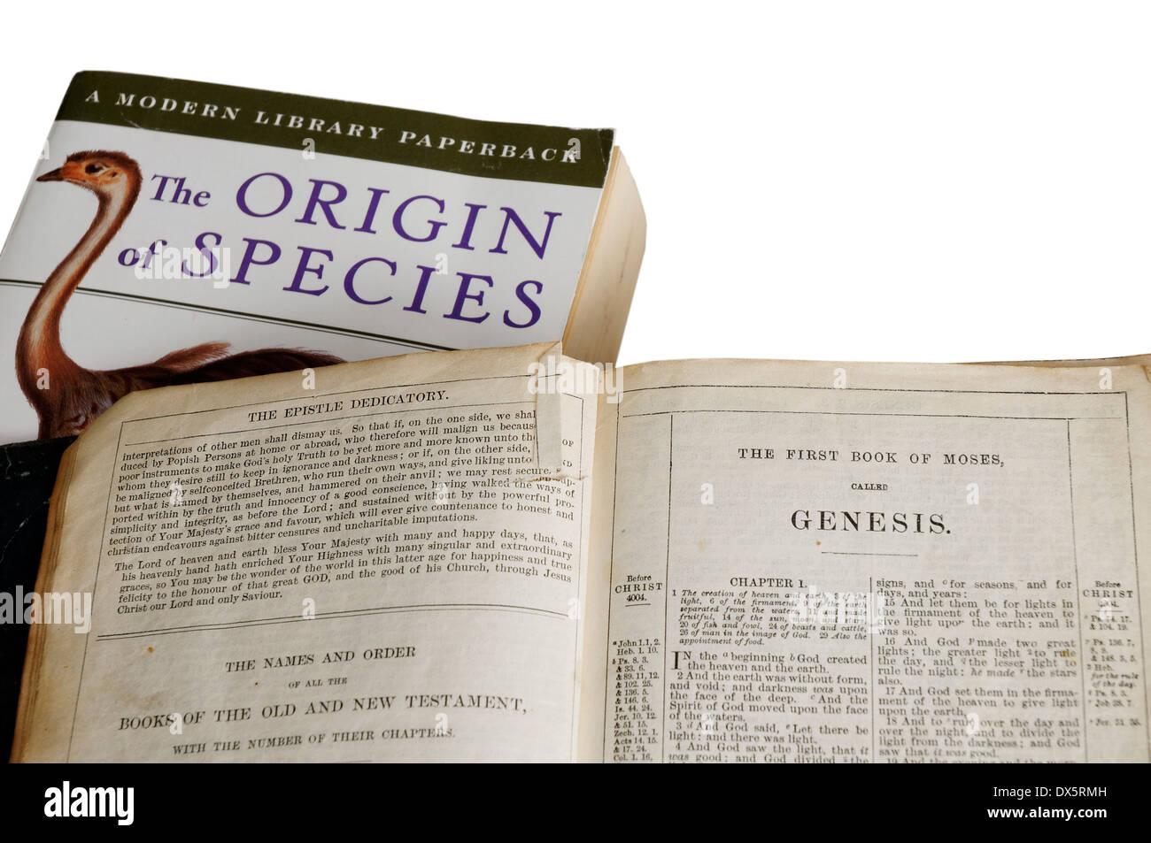 Die Entstehung der Arten durch Charles Darwin und die Bibel öffnen, um das Buch genesis Stockbild