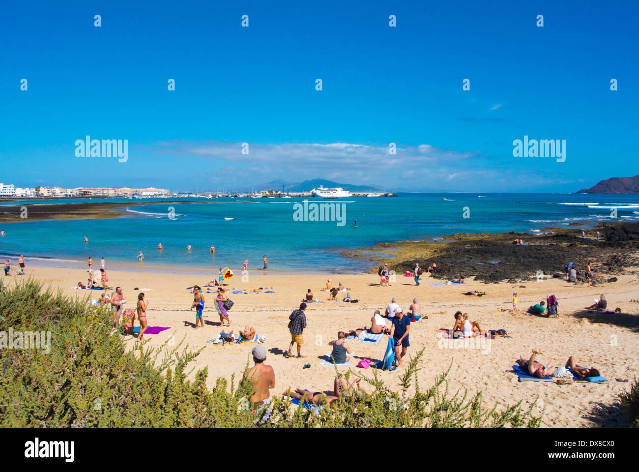 Strand Playa Corralejo Viejo, Corralejo, Fuerteventura, Kanarische Inseln, Spanien, Europa Stockbild