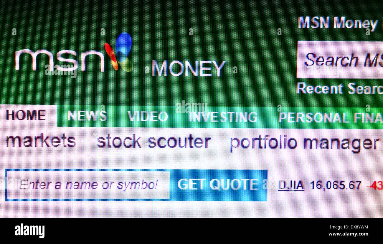 MSN MONEY Online-Finanzberatung Stockbild