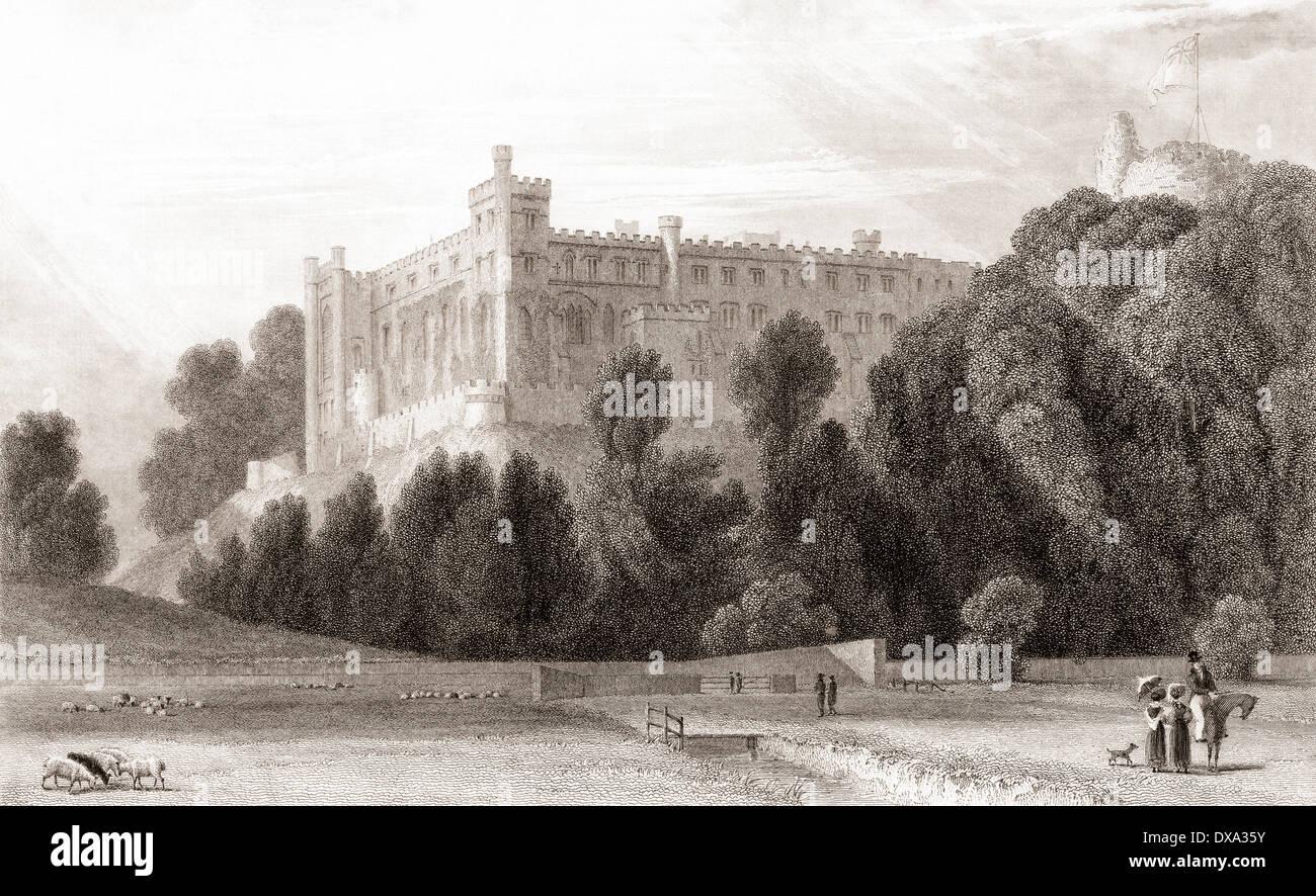 19. Jahrhundert-Ansicht von Arundel Castle, Arundel, West Sussex, England. Stockbild