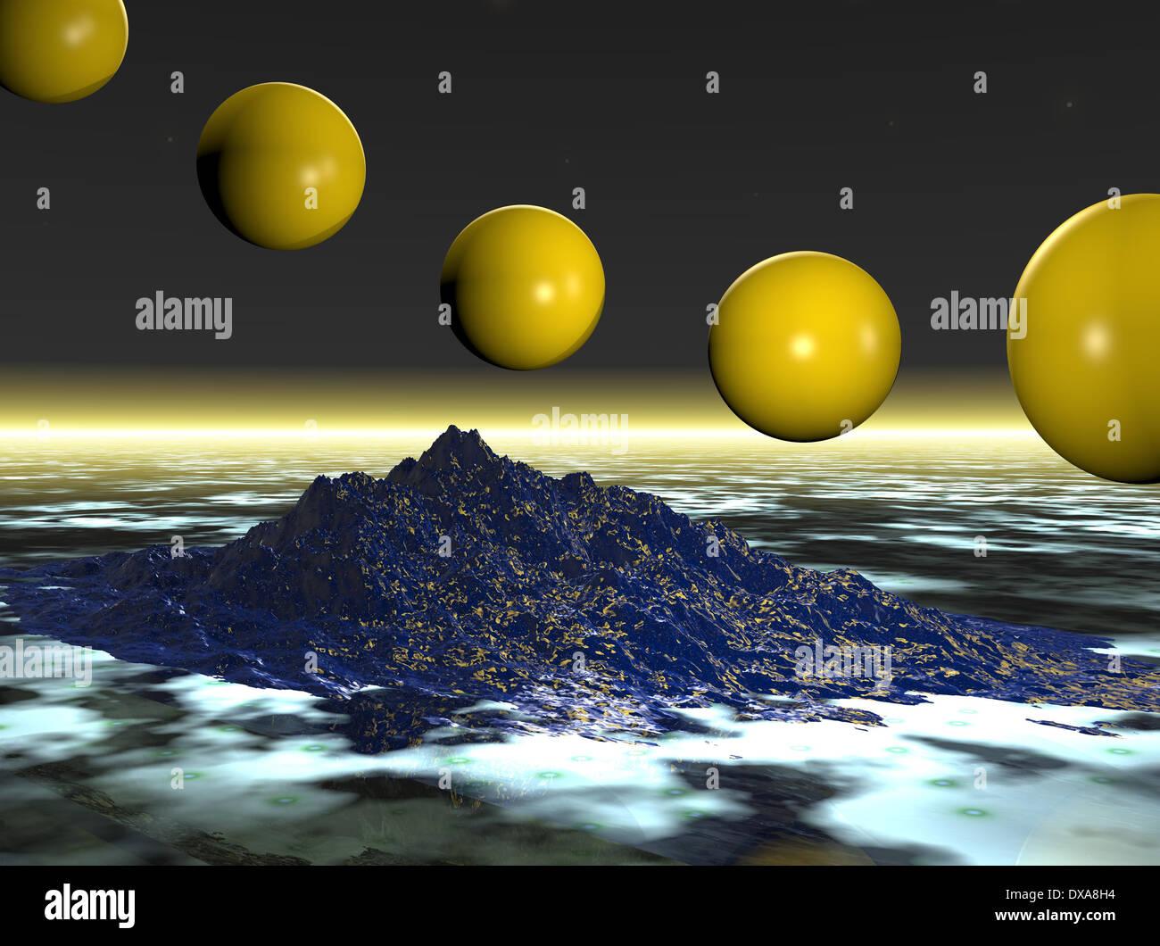 Computer Generated: Fliegen Kugeln auf Insel Hintergrund Stockbild