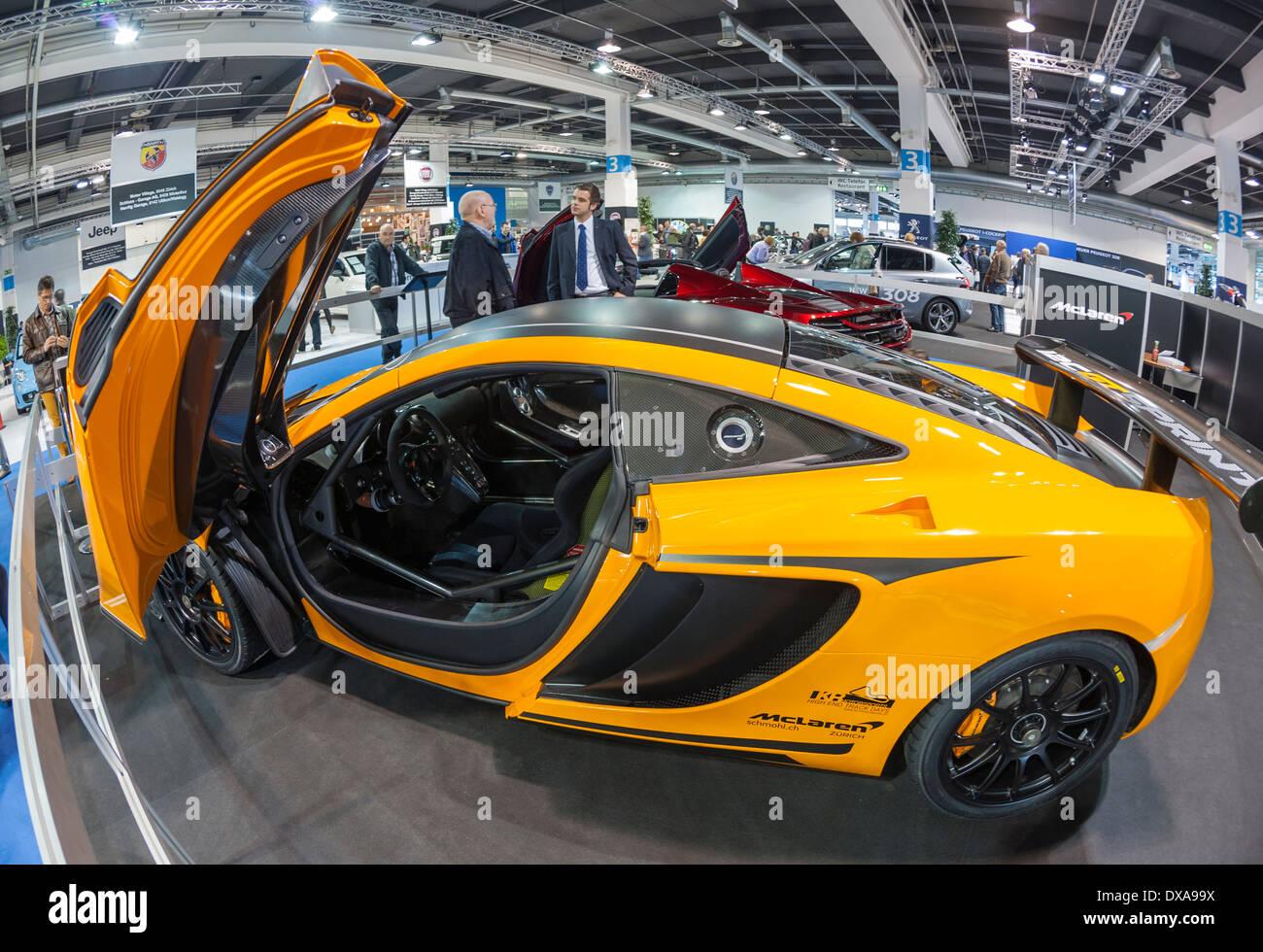 McLaren-Luxus-Sportwagen auf dem Autosalon Zürich in Zürich, Schweiz größte Auto-Ausstellung. Stockbild