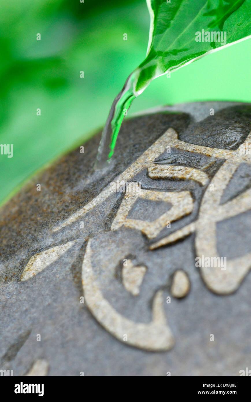Stein mit Zeichen Stockbild