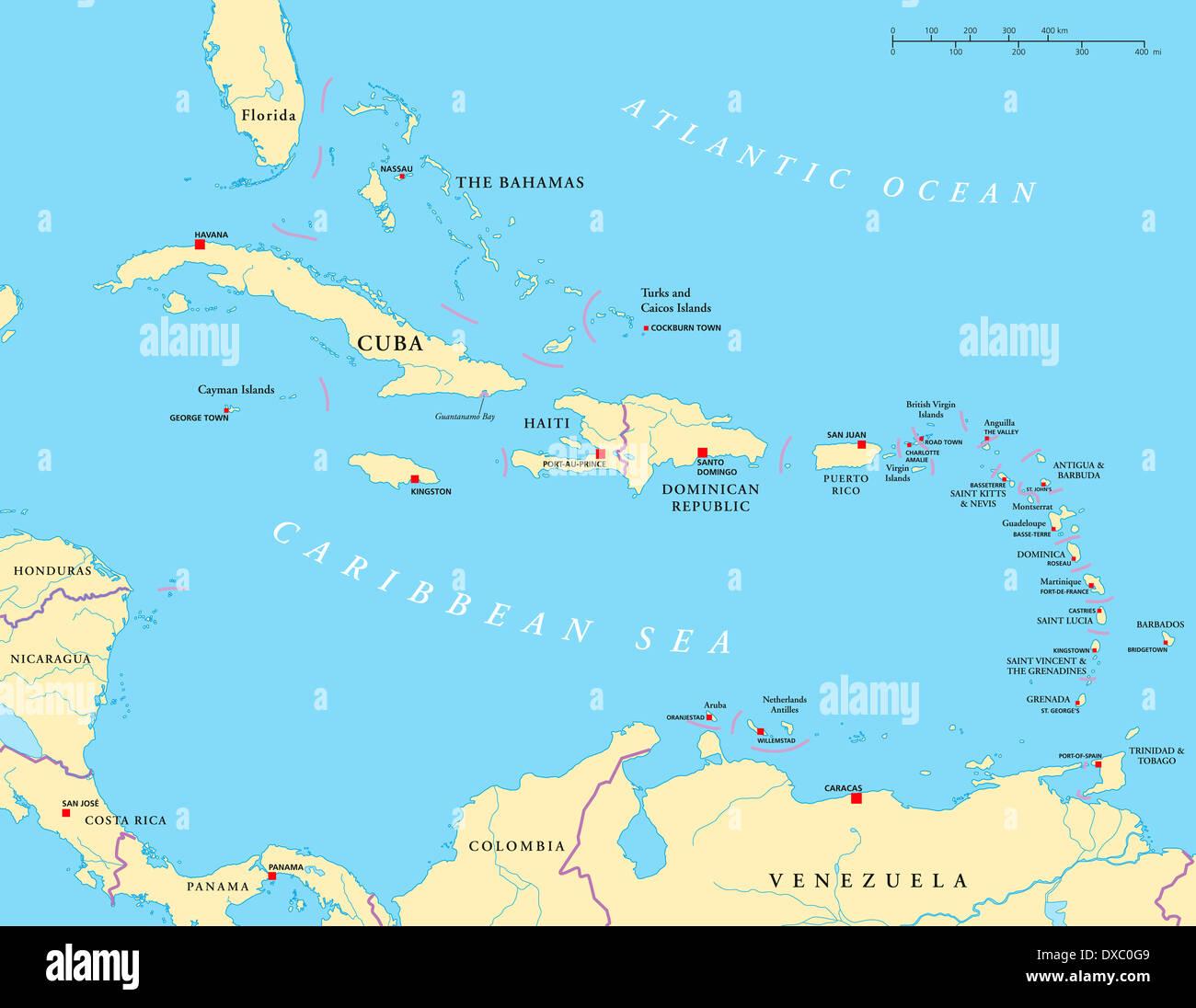 Kleine Antillen Karte.Politische Karte Der Karibik Grosse Und Kleine Antillen