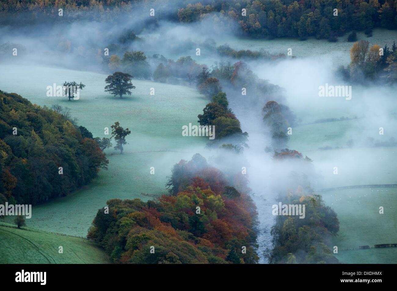 Herbstfärbung und Nebel im Tal Dee (Dyffryn Dyfrdwy) in der Nähe von Llangollen, Denbighshire, Wales Stockbild
