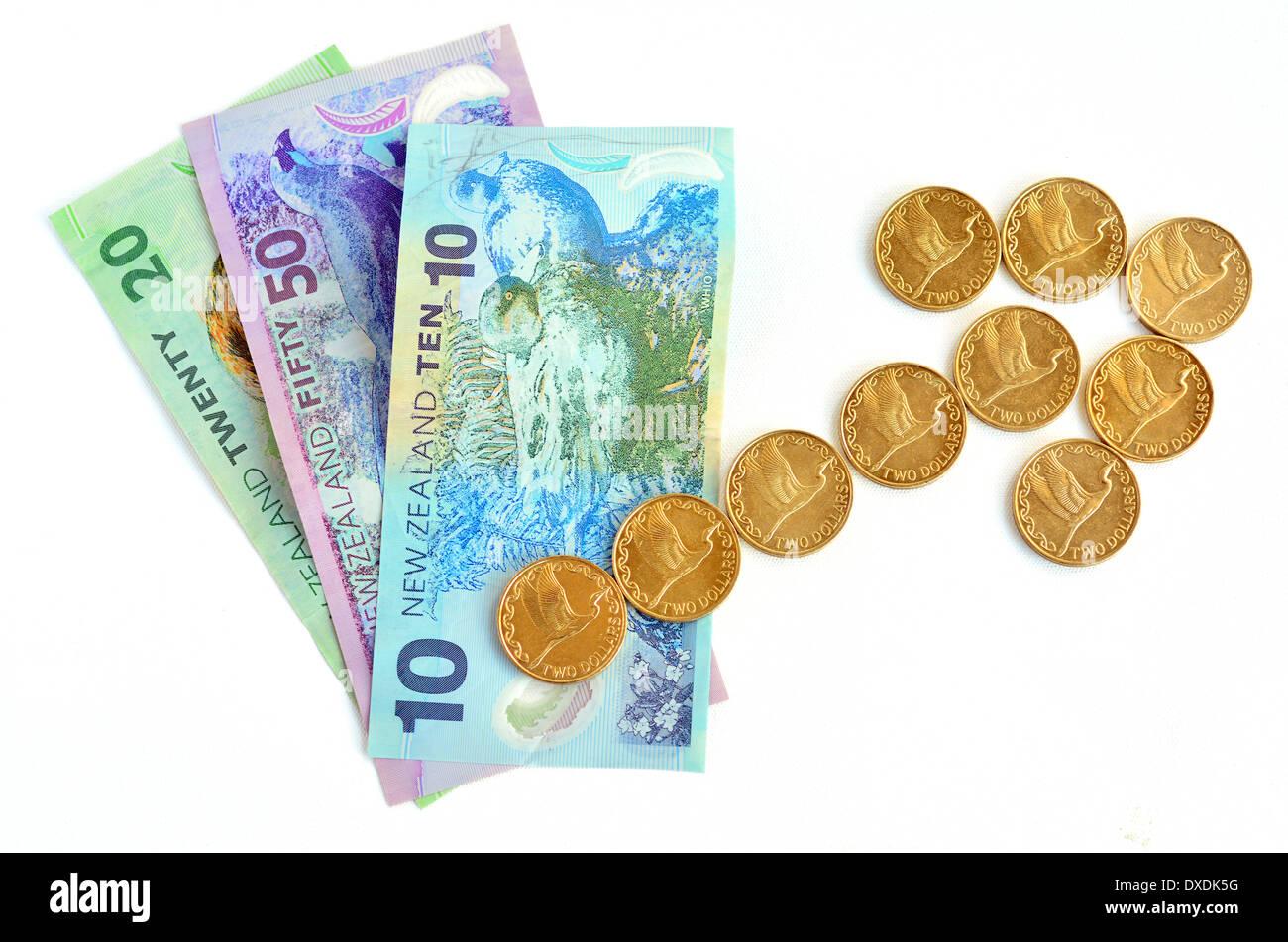 Neuseeland Dollar Banknoten Auf Aufwärtstrend Pfeil Aus Zwei Dollar